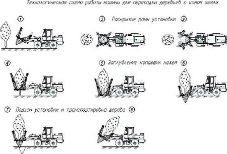 Рис. 7. Технологическая схема работы машины для пересадки деревьев с комом земли.